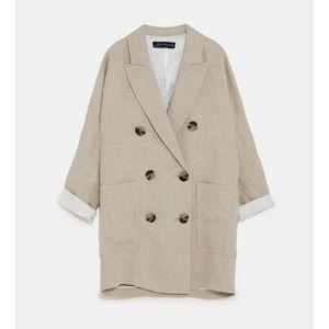 716a35875ce Zara Jackets   Coats - NWT Zara Double Breasted Sand Linen Blazer Dress
